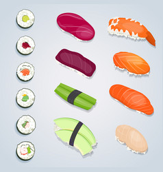 Set sushi rolls vector
