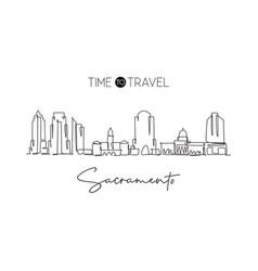 single continuous line drawing sacramento city vector image