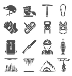 Speleology Black Icons Set vector