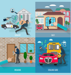 Stealing Icons Set vector image
