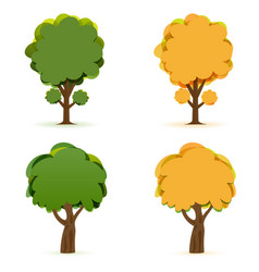 stylized drawing of green and yellow wood oak and vector image