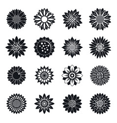 Sunflower plant icons set simple style vector