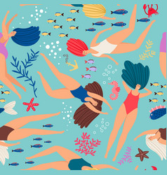 swimmers girls underwater pattern with color fish vector image