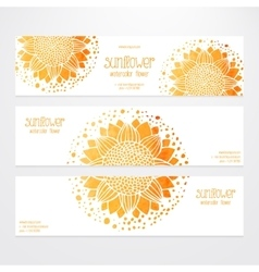 Templates of banners with sunflowers vector