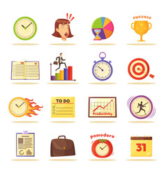 time management themed isolated set vector image