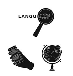Translator and linguist black icons in set vector