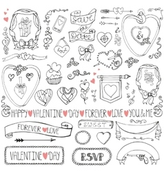 Valentine daywedding iconframesribbon decor set vector image