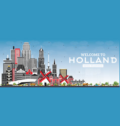 welcome to netherlands skyline with gray vector image