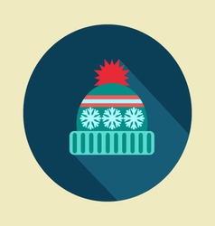 winter hat icon in flat desing vector image