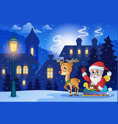 winter scene with christmas theme 6 vector image