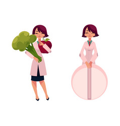 woman doctor holding huge broccoli and giant pill vector image