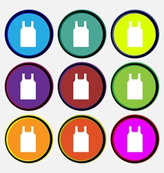 Working vest icon sign Nine multi colored round vector