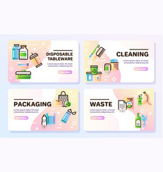 zero waste color linear icons set vector image