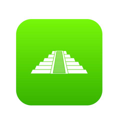 ziggurat in chichen itza icon digital green vector image
