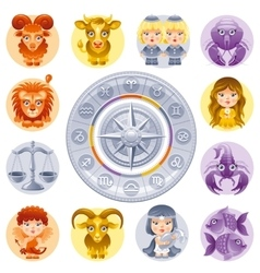 Zodiac signs icon set Cute cartoon characters vector image