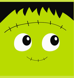 Zombie frankenstein monster square face icon cute vector