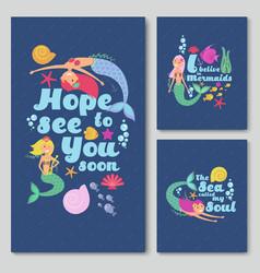 blue invitation cards with cute cartoon sea vector image