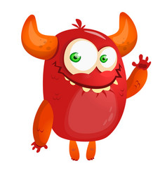 cartoon red monster vector image vector image