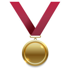 champion gold medal on red ribbon vector image