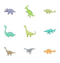 herbivorous dinosaurs icons set cartoon style vector image