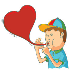 kid blowing love balloon vector image