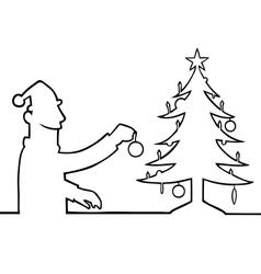 Man decorating christmas tree vector image vector image