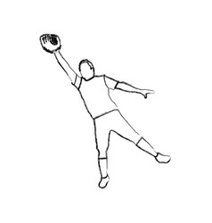 monochrome sketch of baseball catcher vector image