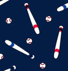 Baseball and bat in a seamless pattern vector image