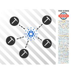 cardano mining network flat icon with bonus vector image