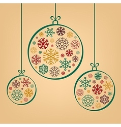 Colorful vintage Christmas balls from snowflakes vector image