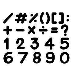 font design for numbers and signs in black vector image