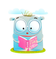 funny monster reading book vector image