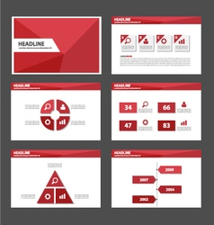Red polygon presentation templates Infographic vector image vector image