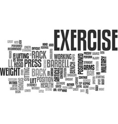 barbell military press exercise text word cloud vector image