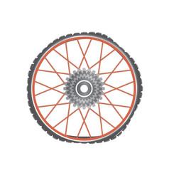 broken metallic bicycle wheel with red spokes vector image