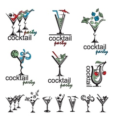 cocktail glass collection vector image