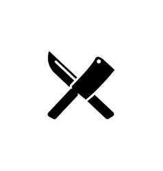 crossed chef knife butcher tools flat icon vector image