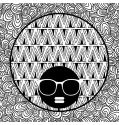 Doodle pattern with black skin woman in sunglasses vector image vector image