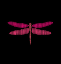 dragonfly embroidery on a black background vector image