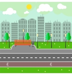 Empty town landscape and road on street vector image