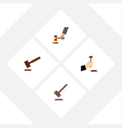Flat icon lawyer set of law crime justice and vector
