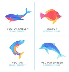 set of abstract emblems and logo design templates vector image vector image