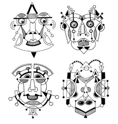 set of unusual hand draw with a male face portrait vector image