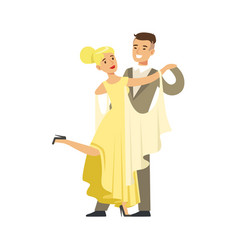 young ballroom dancers in formal costumes colorful vector image vector image