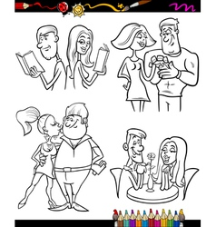 couples set cartoon coloring page vector image vector image