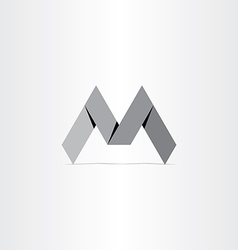 letter m paper bend icon vector image