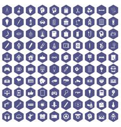 100 creative idea icons hexagon purple vector