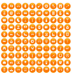 100 europe icons set orange vector image