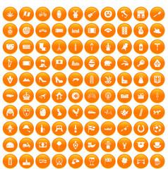 100 europe icons set orange vector