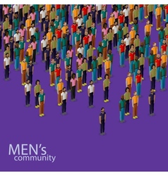 3d isometric of male community with a crowd of vector